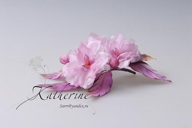 Цветы в японской технике из ткани